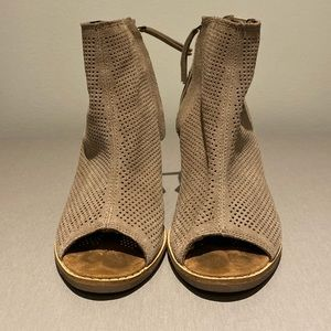 TOMS gently used open toe ankle boots.